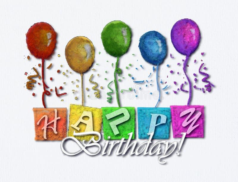 Happy Birthday. On white art board stock photography