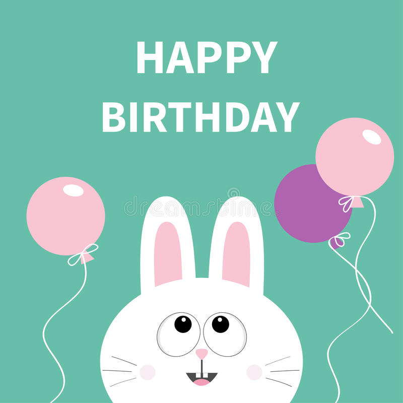 Happy Birthday. White bunny rabbit face. Pet collection. Hare looking up. vector illustration