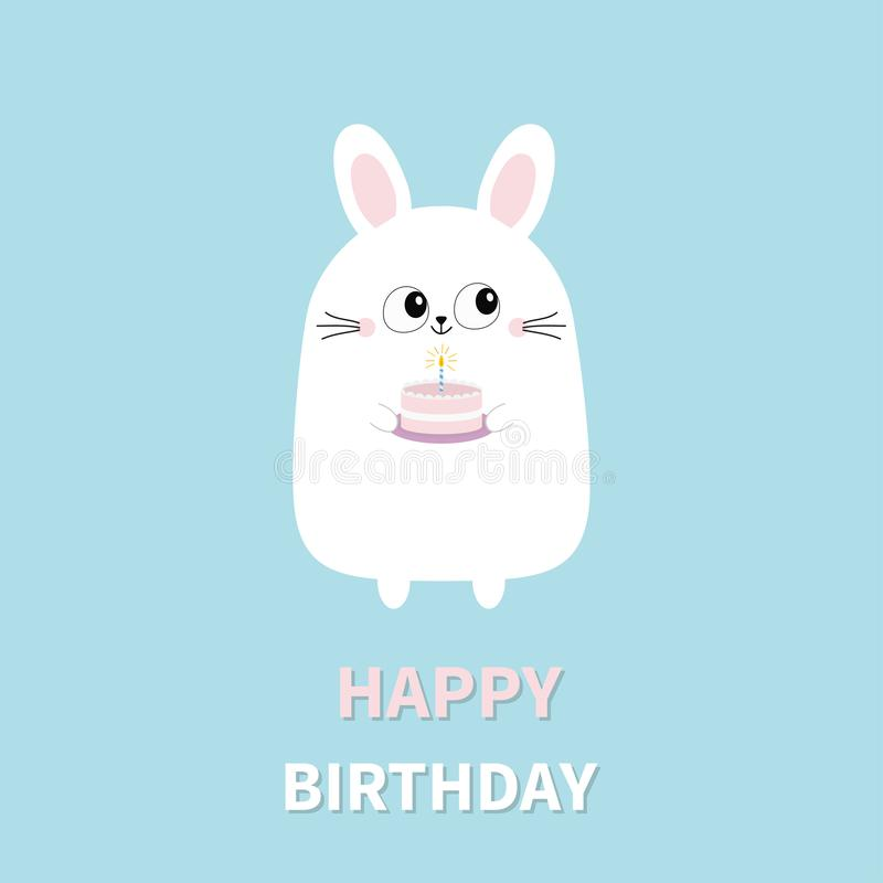 Happy Birthday. White bunny rabbit holding cake with candle. Funny head face. Big eyes. Cute kawaii cartoon character. Baby greeti royalty free illustration