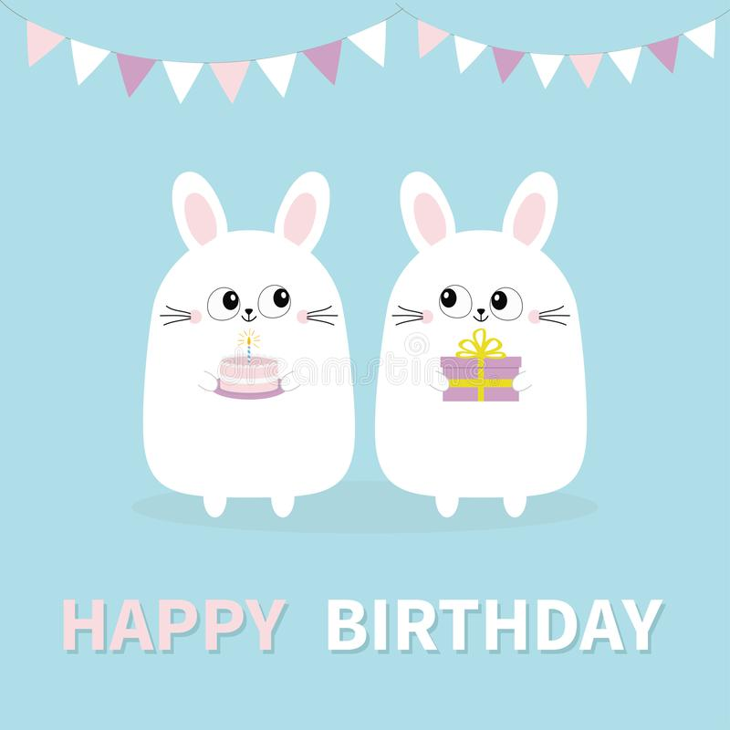 Happy Birthday. White bunny rabbit holding gift box, cake. Paper flags. Funny head face. Big eyes. Cute kawaii cartoon character. royalty free illustration