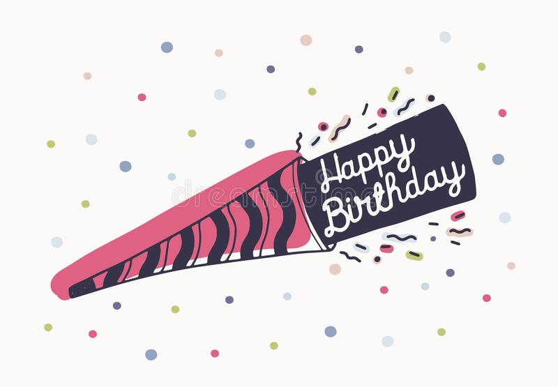 Download Happy Birthday Wish Or Beautiful Lettering Handwritten With Elegant Cursive Font On Party Horn And