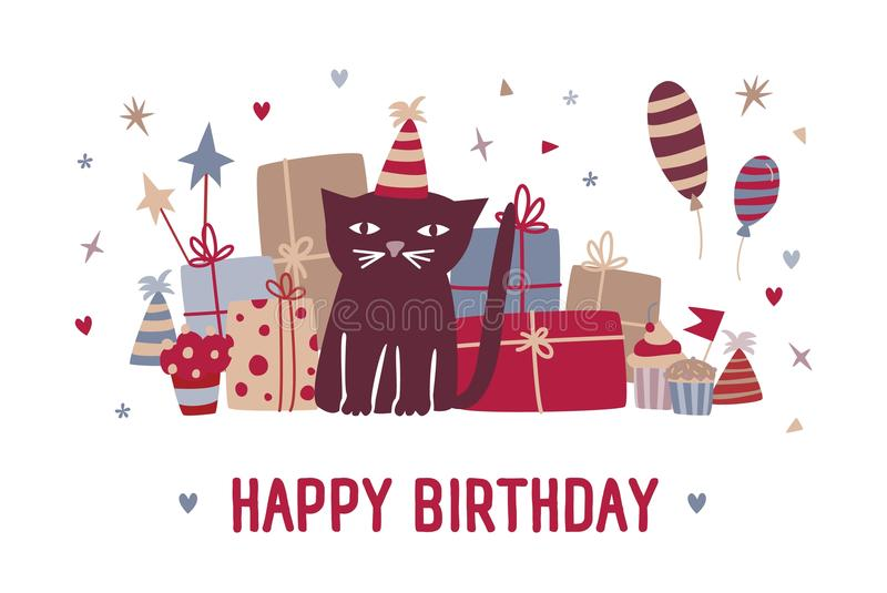 Happy birthday wish and funny cartoon black cat in party hat sitting against gifts, cupcakes, colorful balloons and vector illustration