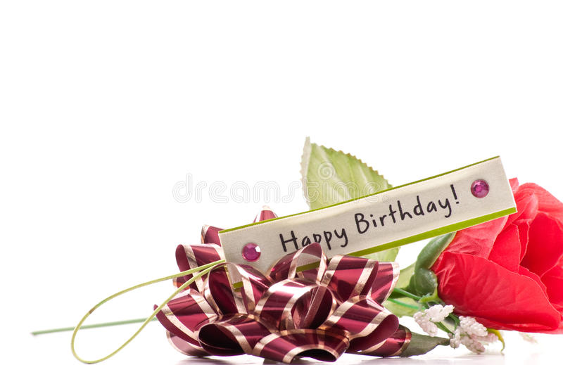 Happy Birthday Wishes. With Fake Rose And Bow royalty free stock photo