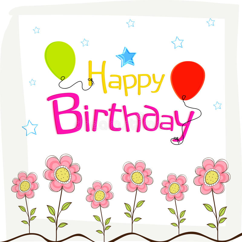 Happy Birthday Wishes Poster Design With Decoration. Stock