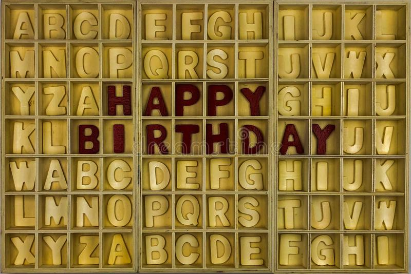 Happy Birthday. Wooden alphabet concept stock photo