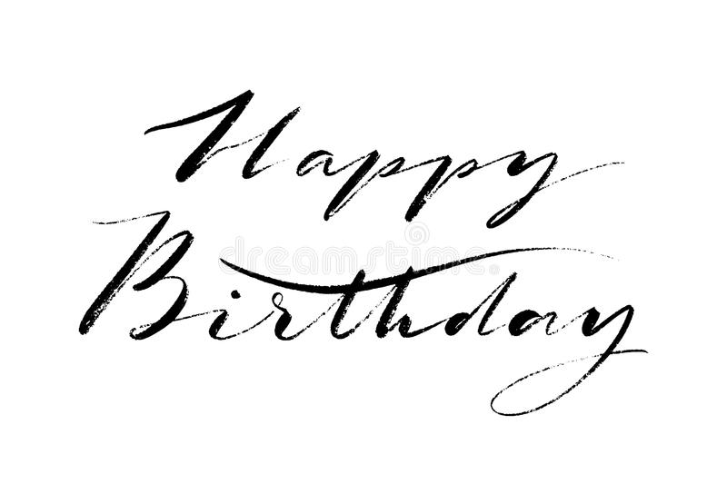 Happy Birthday words. Hand drawn creative calligraphy and brush pen lettering, design for holiday greeting cards and. Invitations. Monochrome lettering royalty free illustration