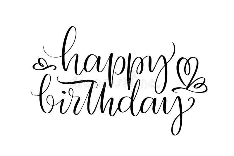 Happy Birthday words. Hand drawn creative calligraphy and brush pen lettering, design for holiday greeting cards and. Invitations royalty free illustration