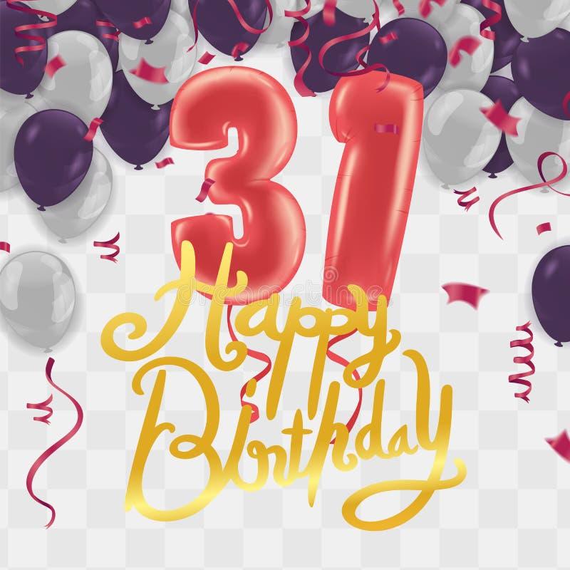 Happy birthday 31 years anniversary celebration vector template design party balloons  Illustration stock illustration