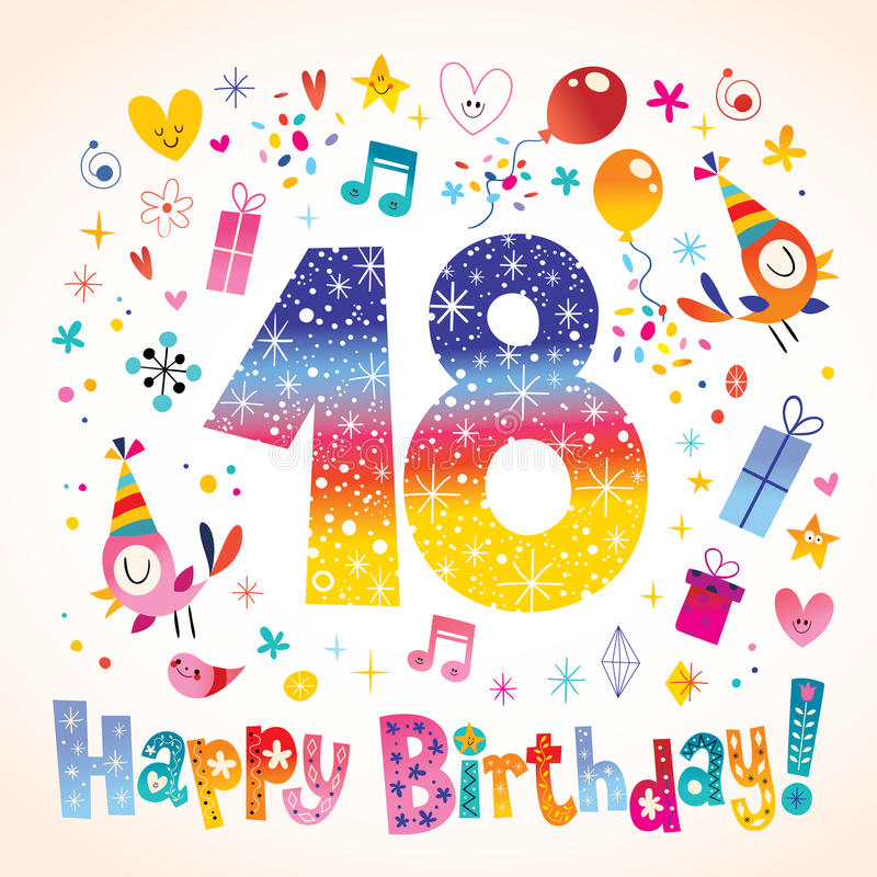 Happy Birthday 18 years vector illustration
