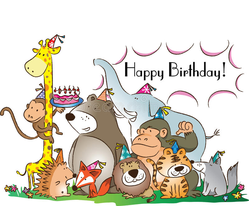 Happy Birthday Stock Illustration. Illustration Of Animals
