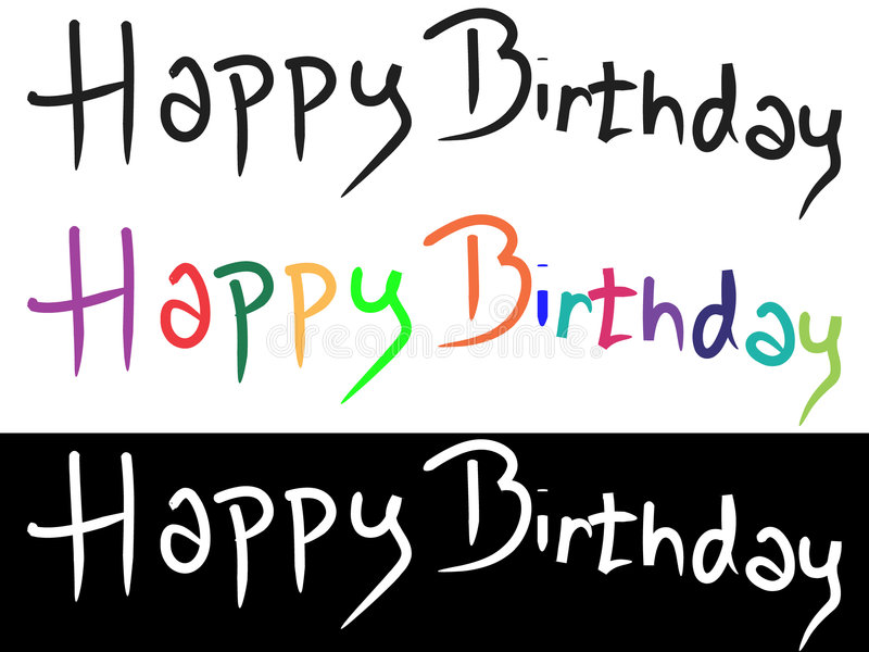 Happy Bithday. Text Happy Birthday.Color and black/white royalty free illustration