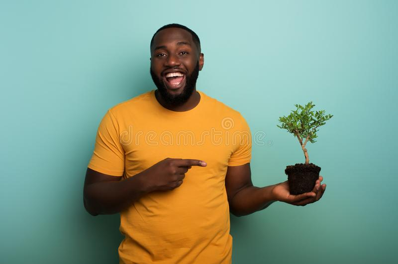 Happy boy indicates a small tree ready to be planted over a light blue color. Concept of forestation, ecology and. Happy black boy indicates a small tree ready stock photography