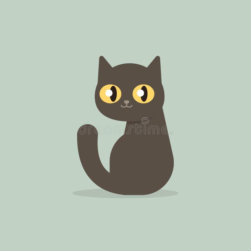 Happy black cat kitten sitting, cartoon flat style vector illustration vector illustration