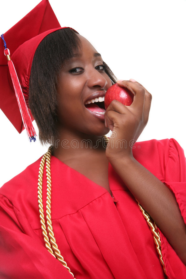 Happy black female graduate stock photos
