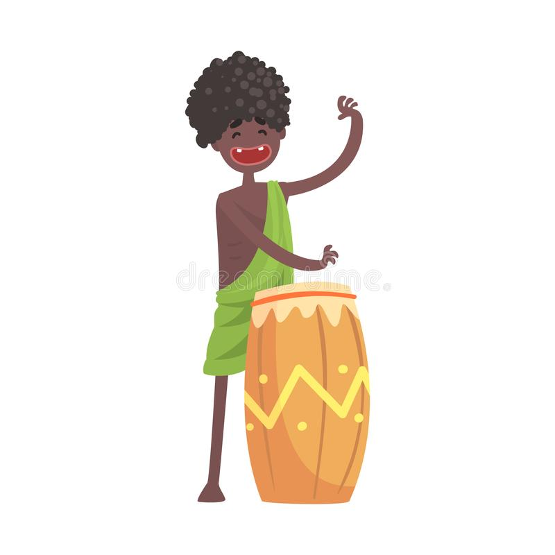 Black skinned man aborigine playing on ethnic drum. Happy black skinned man aborigine. Indigenous peoples of African or Australian tribe. Musician playing on royalty free illustration