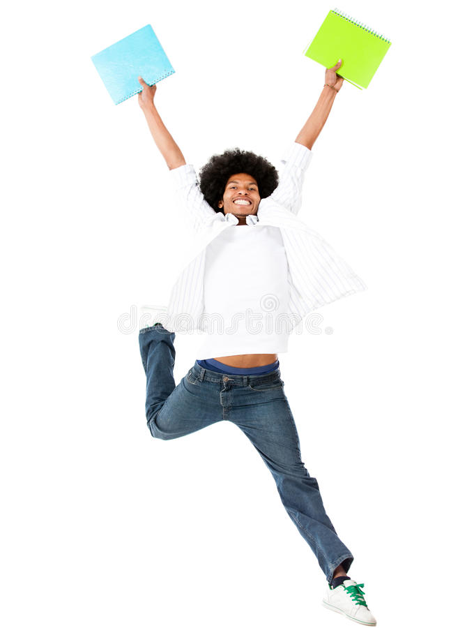 Download Happy black student stock image. Image of afro, jumping - 26486959
