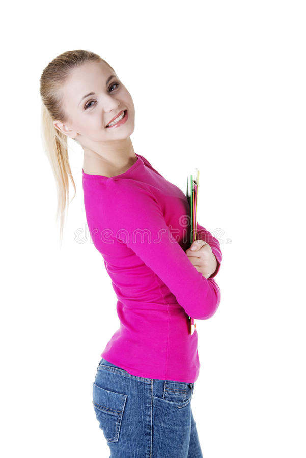Happy blond student girl stock photos