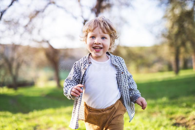 Happy toddler boy running outside in spring nature. Happy blond toddler boy running outside in spring nature stock images