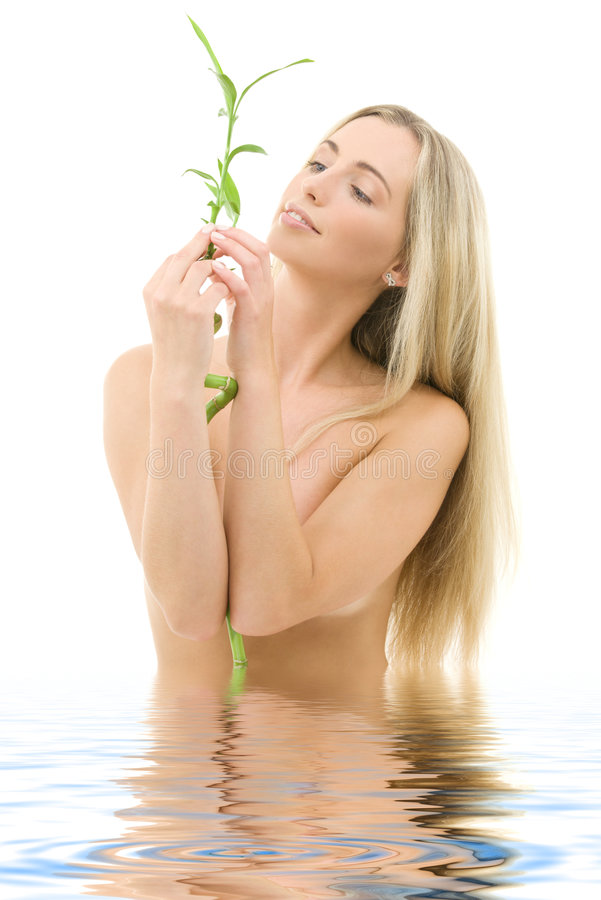 Download Happy blonde with bamboo stock image. Image of blonde - 6032069