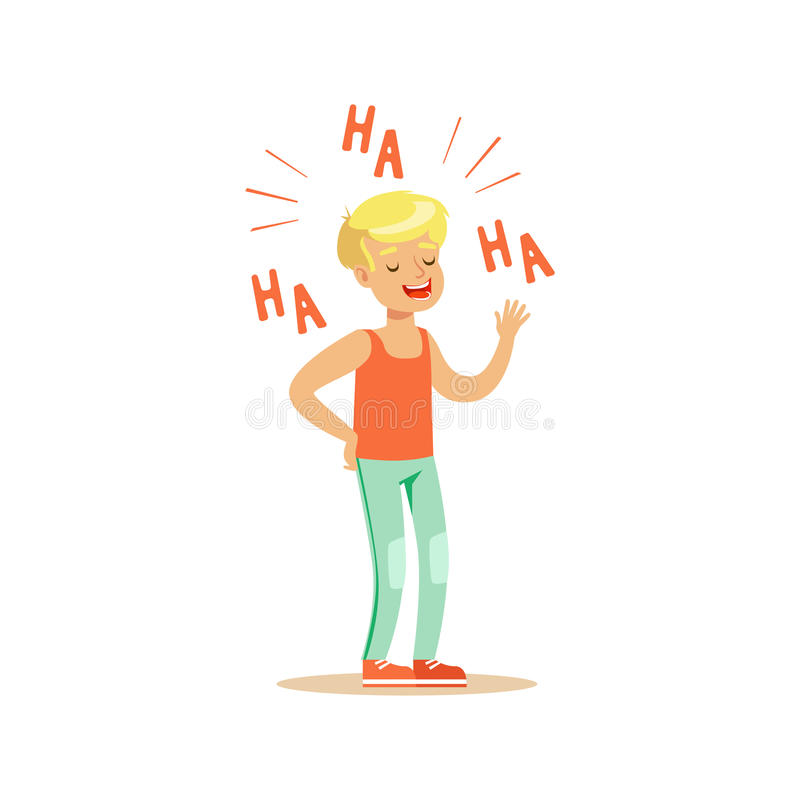 Happy blonde boy in casual clothes laughing out loud colorful character vector Illustration. On a white background royalty free illustration