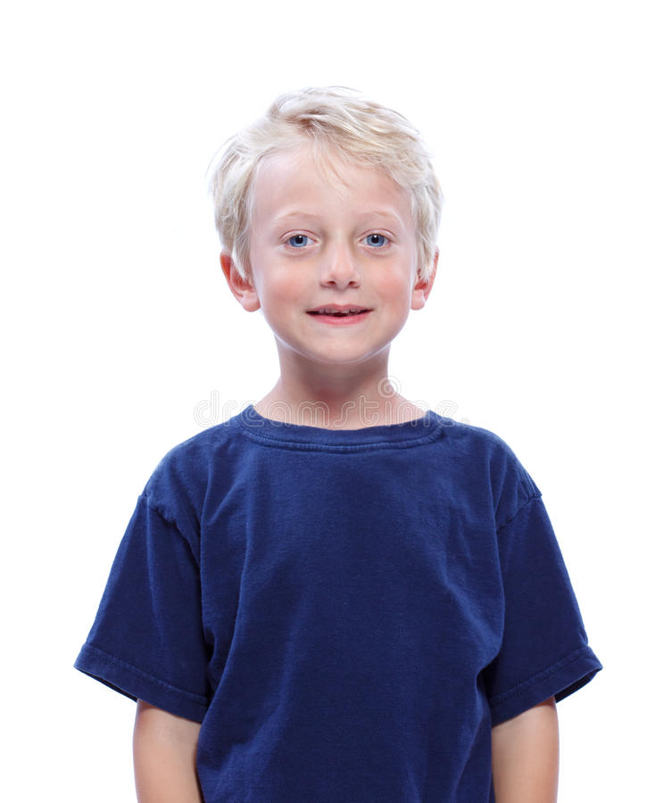 Download Happy Blonde Boy Smiling stock image. Image of blue, happiness - 25666521