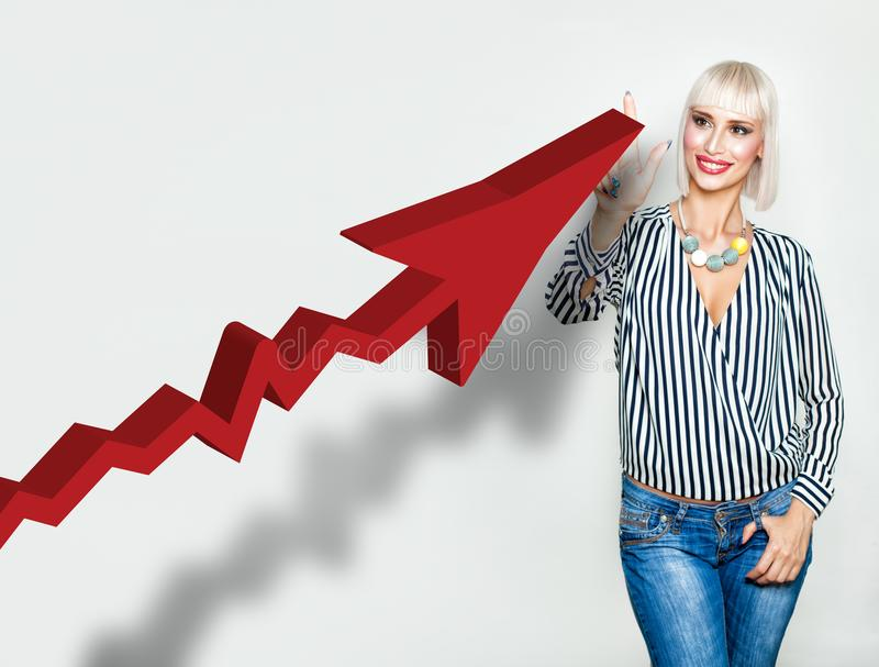 Happy Blonde Business Woman with Red Rising Arrow stock photo