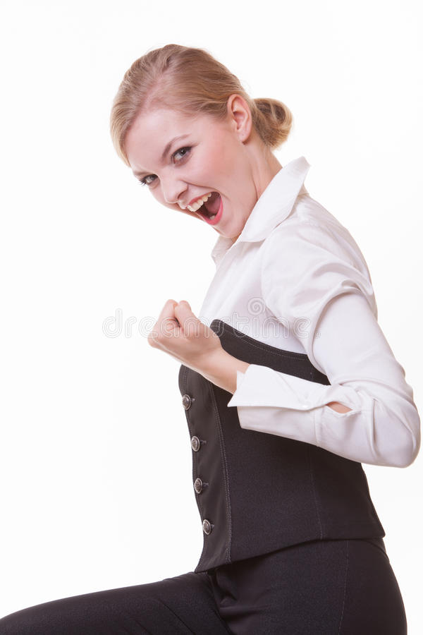 Happy blonde businesswoman with success hand sign. Business. royalty free stock images