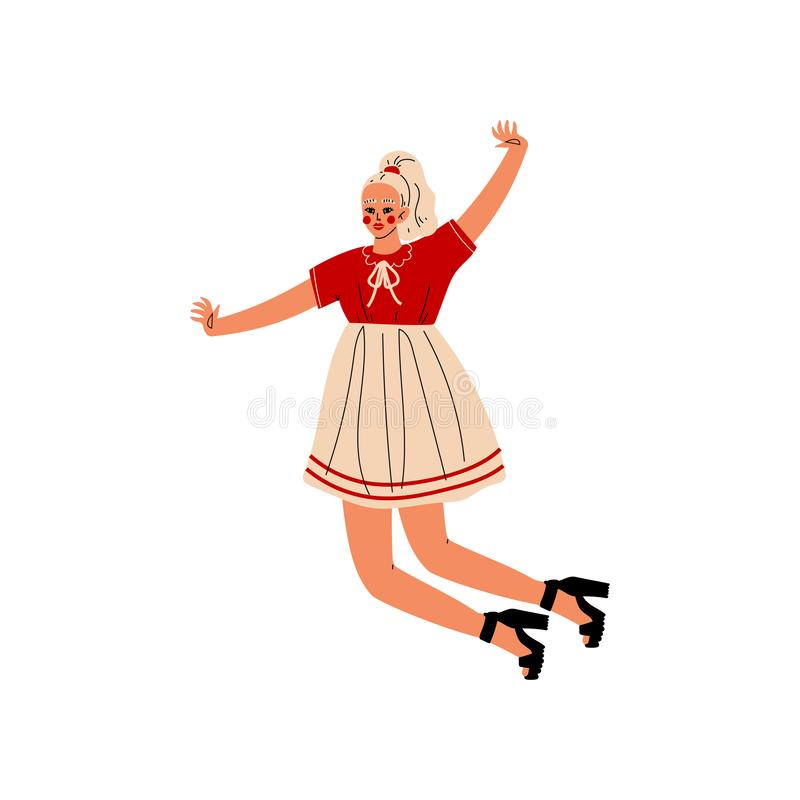 Happy Blonde Girl Jumping Celebrating Important Event, Dance Party, Friendship, Sport Concept Vector Illustration. On White Background royalty free illustration