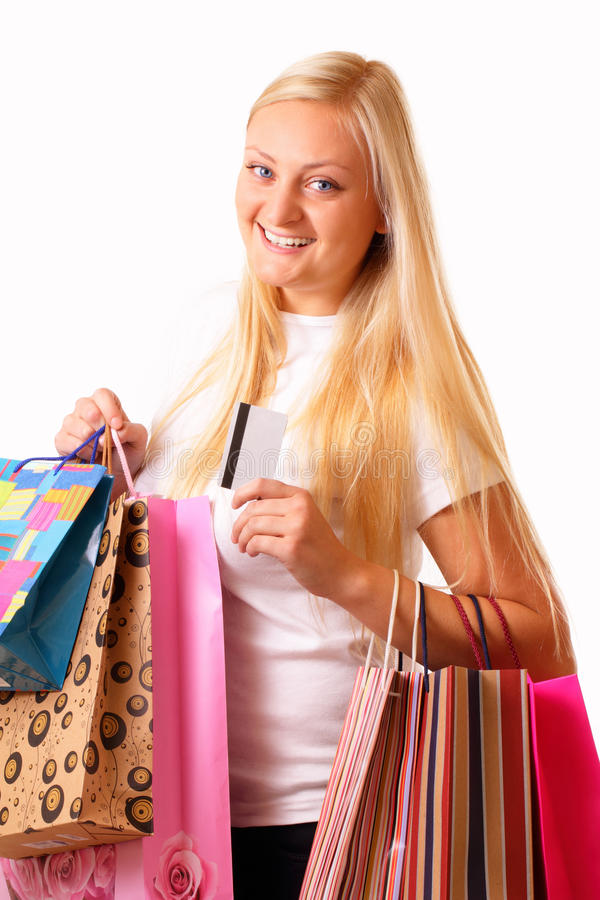 Download Happy Blonde Shopping Woman Stock Image - Image of fashion, girl: 27317131