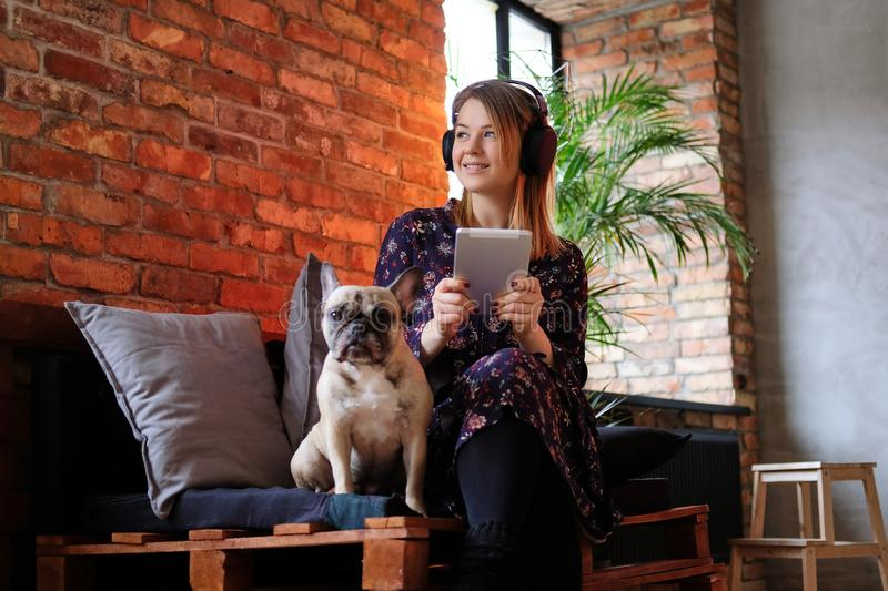 Happy blonde woman in a dress holds tablet and listening to music while sitting with her cute pug on sofa. stock images