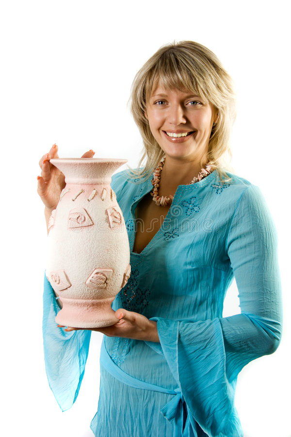 Download Happy Blondie With Flower Pot Stock Photo - Image: 2805548