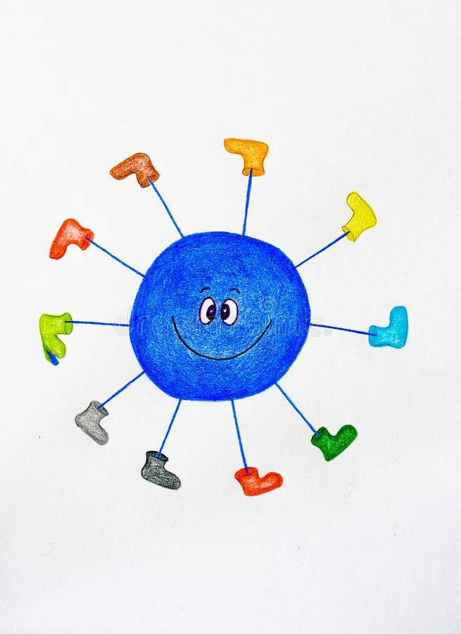 Happy blue blob with many feet speedily walking and rolling stock images