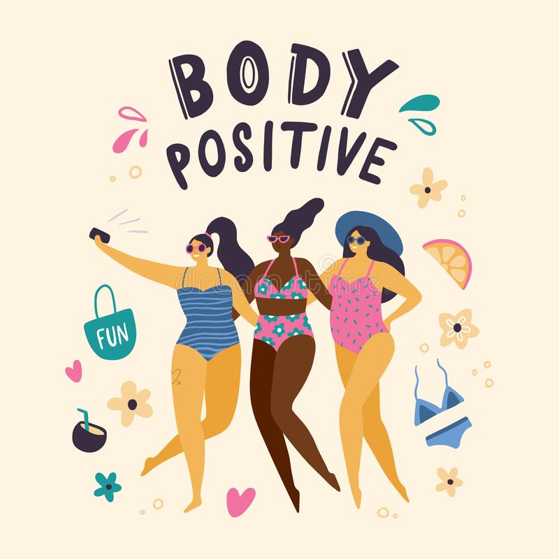 Happy body positive girls dressed in swimsuits making selfie. royalty free illustration