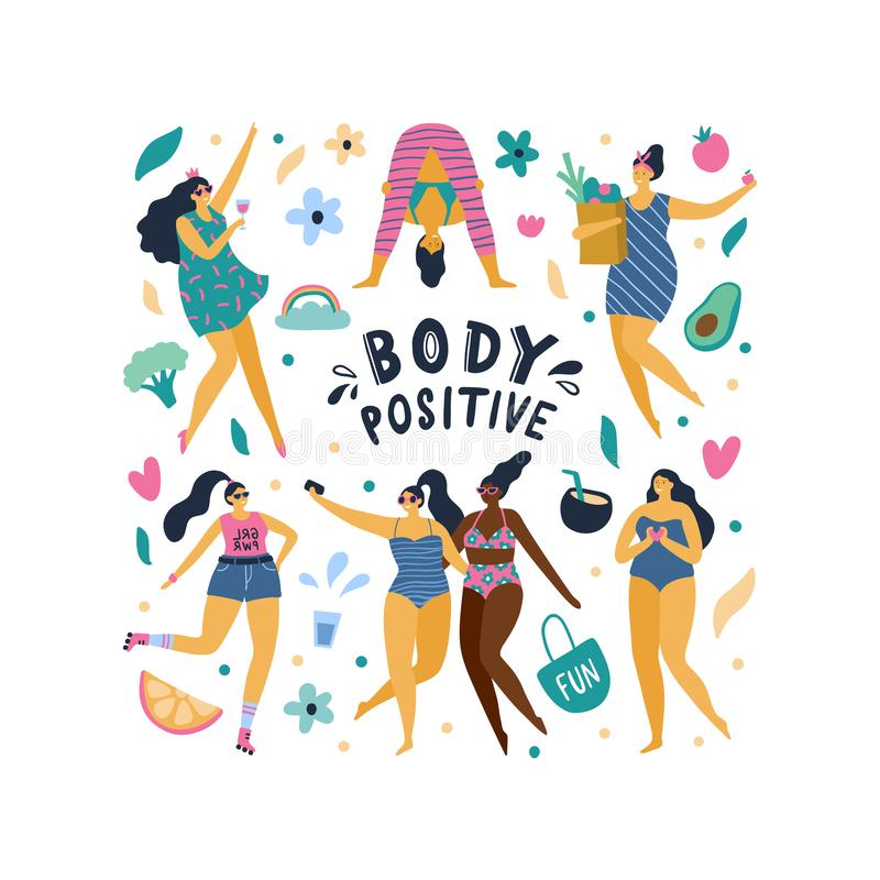 Happy body positive girls enjoy life. royalty free illustration