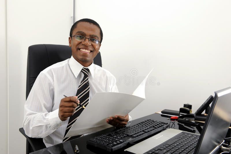 Download Happy Bookkeeper Reading Documents Stock Photo - Image: 19934184