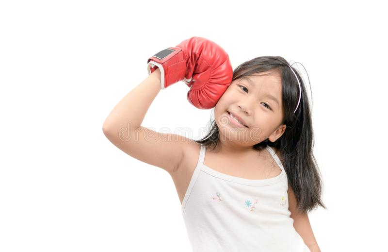 Happy boxer winner boxing championship isolated white. Winner boxing competition. Girl boxing gloves feels powerful. Happy boxer winner boxing championship royalty free stock photography