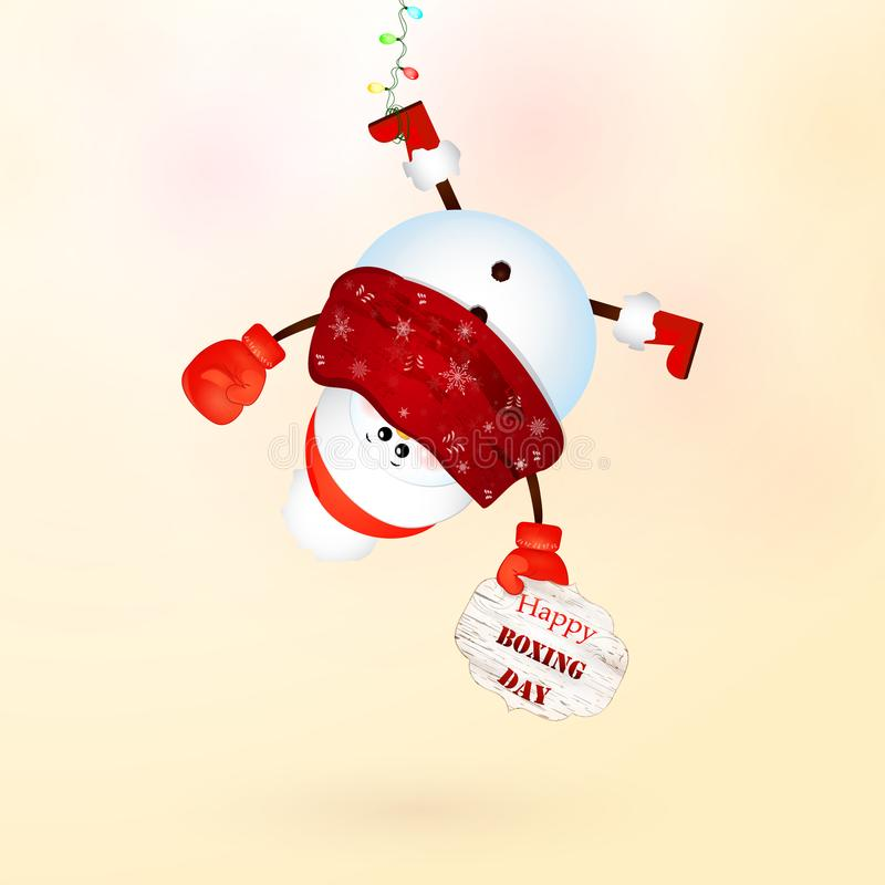 Free Happy Boxing Day. Cute Snowman With Hanging Upside Down . Stock Image - 103952871