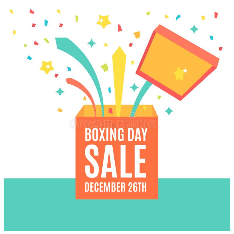 Happy Boxing day sale design with gift boxes , shopping holiday big savings royalty free illustration