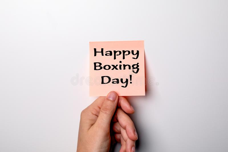 Happy Boxing Day. Sticky note on a background. Happy Boxing Day. Sticky note on a white background royalty free stock images