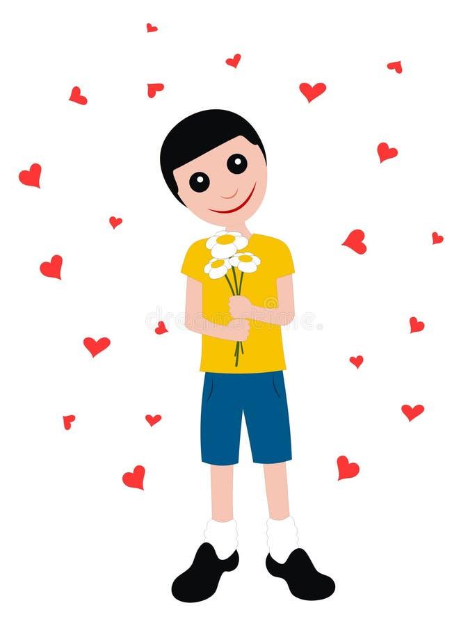 Download Happy boy stock vector. Image of flower, teeneger, little - 12550168