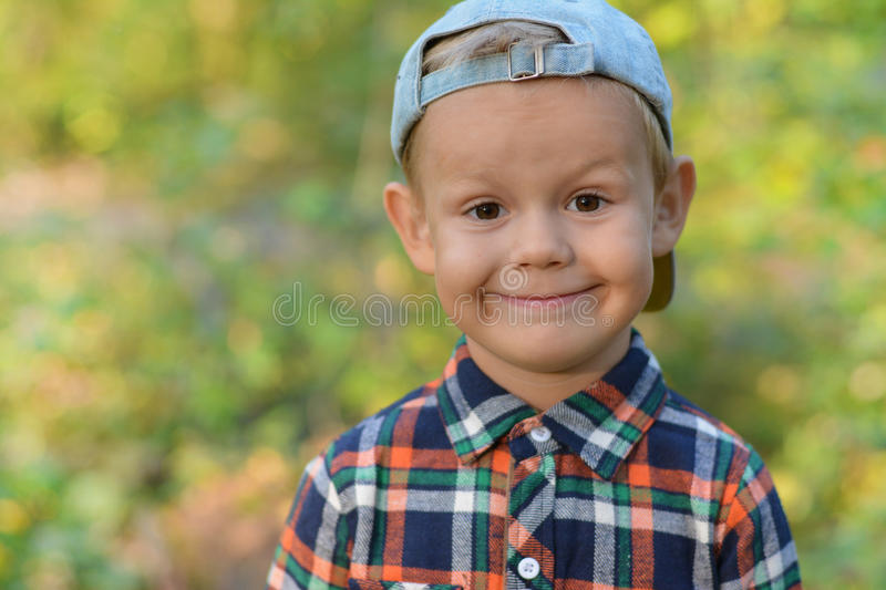 Happy boy in autumn forest royalty free stock photo