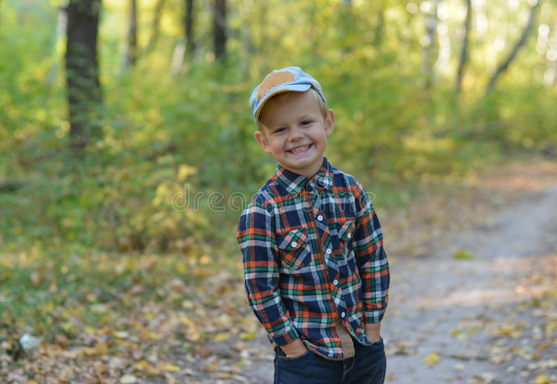 Happy boy in autumn forest royalty free stock image