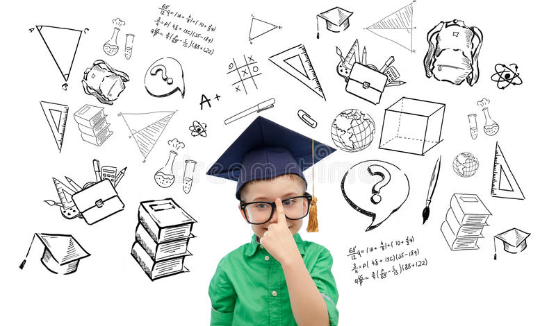 Happy boy in bachelor hat and eyeglasses. Childhood, school, education, learning and people concept - happy boy in bachelor hat or mortarboard and eyeglasses stock illustration