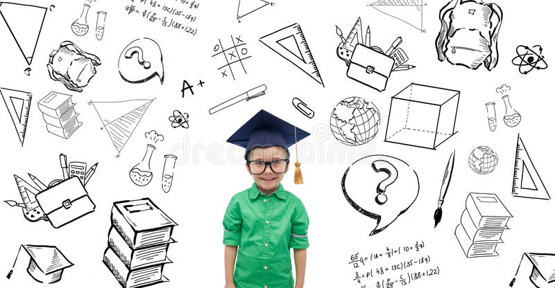 Happy boy in bachelor hat or mortarboard. Childhood, school, education, learning and people concept - happy boy in bachelor hat or mortarboard with doodles stock illustration