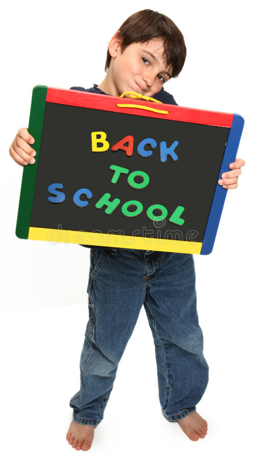 Happy Boy with Back To School stock images