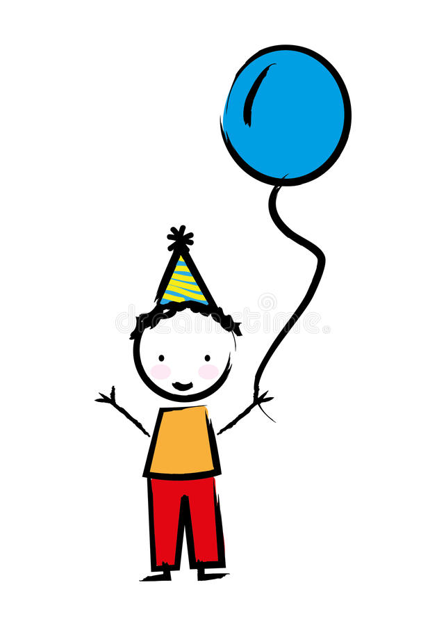 Happy boy with balloon drawn isolated icon design stock illustration