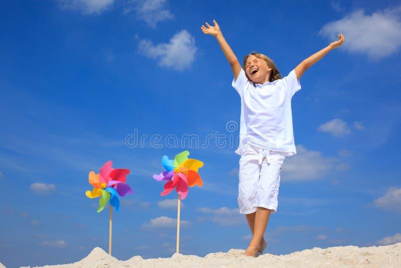 Happy boy on beach stock photography