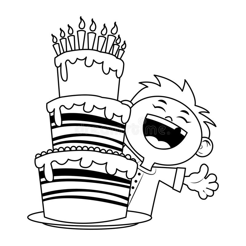 Happy boy with Birthday cake with candles icon over white background, flat design stock illustration