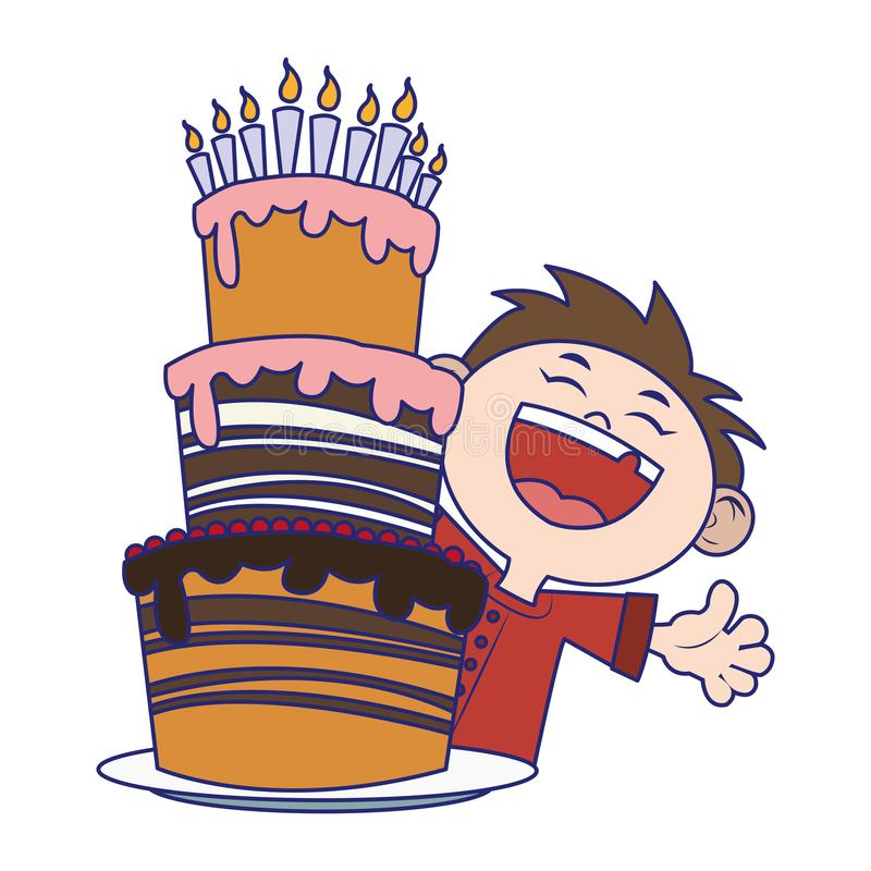 Happy boy with Birthday cake with candles icon over white background stock illustration