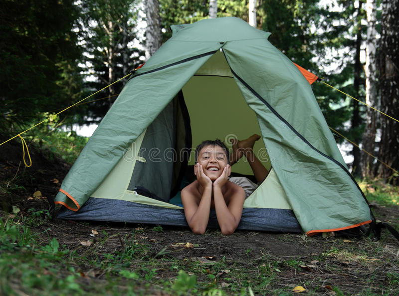 Download Happy boy in camping tent stock photo. Image of outdoor - 13291510